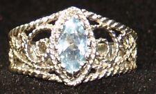 Sterling Silver Aquamarine Filigree Ring 925