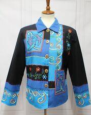 3516 Alex Kim Women M Top Blouse Jacket Long Sleeve Embroidered Embellished
