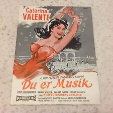 Du bist Musik Caterina Valente Paul Hubschmid Vintage 1956 Danish Movie Program