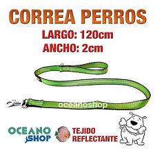 CORREA PERRO VERDE TEJIDO REFLECTANTE DE 2cm ANCHO 120cm LARGO L85 3368