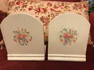 Beautiful vintage pair of hand painted wooden bookends