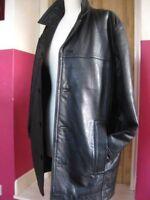 Mens M&S AUTOGRAPH long black real leather COAT medium 38 40 duster barnstormer