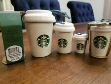 Starbucks Christmas ornament lot white canister ornament & white to go cup 2016