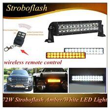 "13.5""72W Stroboflash Amber/White LED WORK LIGHT BAR Combo OFFROAD Driving SUV"