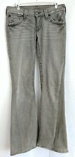 True Religion Size 29 Women's Gray Jeans, Flare Style, Whiskering, Flap Pockets