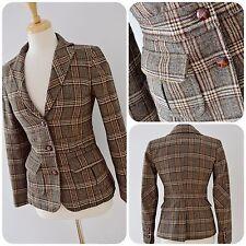 Laura Ashley Giacca di tweed UK 8 Marrone Gomito Patch Riding Paese Qualità Vintage