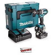 TRAPANO AVVITATORE PERCUSSIONE MAKITA DHP484RTJ - DUE BATTERIE  LITIO 18V 5,0AH