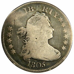 1805 DRAPED BUST QUARTER - BOLD GOOD+/VG WITH GRAFFITI - PRICED RIGHT!