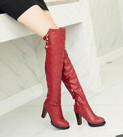Women's PU leather over knee thigh boots riding  block high heel shoes plus size