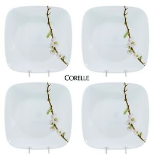 "Corelle CHERRY BLOSSOM 9"" Salad Plate Set 4P Square White Vitrelle 2"