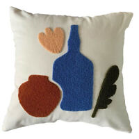 UK Natural Cotton Tufted Embroidery Cushion Cover with Invisible Zipper
