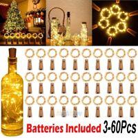Lot 20/30 LED Cork Shape String Fairy Night Light Wine Bottle Lamp Home Garden