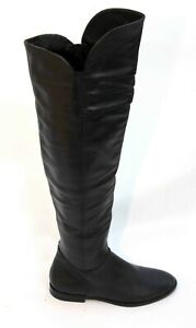 MODA IN PELLE BLACK OVER THE KNEE LEATHER BOOTS SIZE 4 37 LIGHTLY WORN