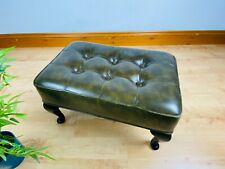 Vintage Sherborne Chesterfield Style Green Button Footstool MCM