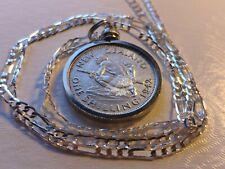 """Rare 1942 New Zealand Silver Shilling Maori Warrior Pendant on 24"""" Silver Chain"""