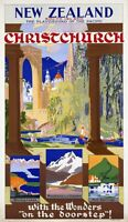 "Vintage Illustrated Travel Poster CANVAS PRINT New Zealand Christchurch 24""X16"""