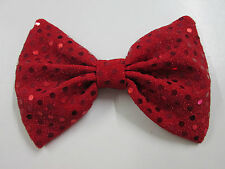 Red Shiny Sequin Bow Tie On Elastic Fancy Dress Clown Columbia Rocky Horror