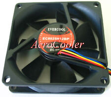 EverCool EC8025H12BP 80x25mm Ball Bearing Fan,4Pin PWM