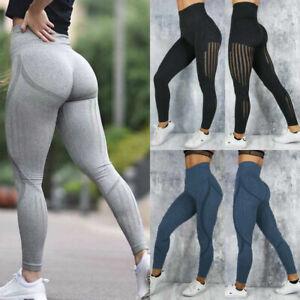 Women Elastic  Yoga Pants Mesh Stitching Fitness Leggings Gym Sports Trousers 9L