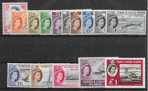 TURKS & CAICOS SG237/50,253 1957-60 DEFINITIVE SET MTD MINT