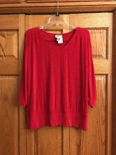 Chicos Travelers Top Red Scoop Neck 3/4 Sleeve Banded Hem Womans Size 2