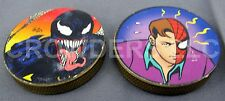 "Vintage Brass Slammers Peter Parker/Spiderman & Venom 3/8"" Thick Pogs Milk Caps"