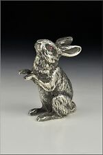 English Sterling Silver Rabbit Figurine / Statue w/ Genuine Ruby Eyes