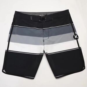 Hurley Swim Shorts Men Swimwear Spandex Surf Board Shorts Beach Shorts Grey E387