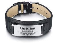 ID Leder Edelstahl Armband schwarz mit Gravur nach Wunsch + Box Geschenk Neu