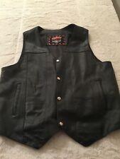 Interstate Leather Black Biker Motorcycle Vest XL