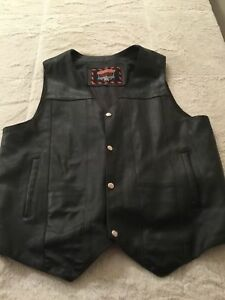 Interstate Leather Black Biker Motorcycle Vest XL