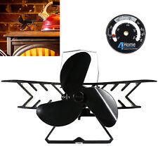 Eco Plane 3 Blade Wood Log Burning Fire Burner Mini Stove Top Fan + Thermostat