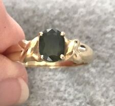 14kt Yellow Gold Oval Moldavite Ring, Size 6½ *Excellent Condition*