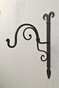 Beautiful Handmade wrought iron curled top hanging basket wall bracket CTWB