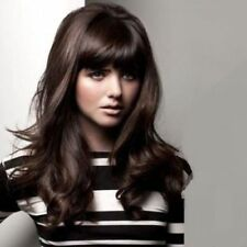 100% Human Hair !Fluffy Dark Brown Wavy Charming Long Hair Wig Real Hair Wigs