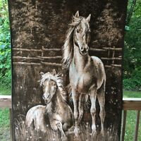 Reversible Plush Throw Blanket Horse with Foal Acrylic Cotton 73 X 54 Germany