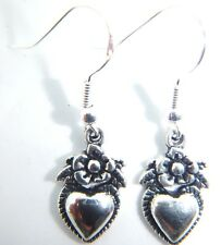 Tibetan Silver Heart & Flower Earrings On Sterling silver Hooks Organza Gift Bag