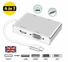 Type C to HDMI Adapter, USB-C to DVI VGA USB 3.0 USB Hub macbook *UK SELLER*