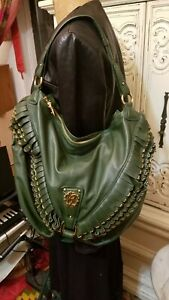 Roberto Cavalli GREEN Leather Gold Studded Fringe Hobo Bag Mint condition ITALY