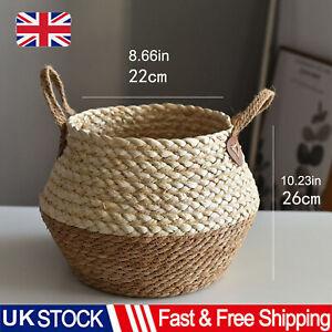 Large Seagrass Belly Basket Handmade Rattan Plant Storage Basket Pot Home Decor