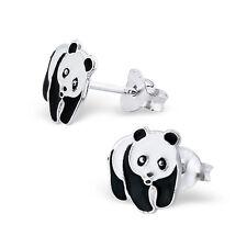 Enfants Neuf Femme Fille Argent Sterling Panda Mignon Boucles D'Oreilles en