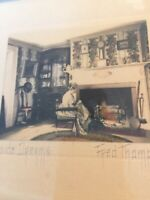 "Fred Thompson hand colored photograph ""Fireside Dreams"" Fireplace Interior Scene"