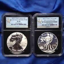 2013W 2 COINS SILVER WEST POINT EAGLE SET, NGC ENH. FINISH SP70/PF70, STAR LABEL