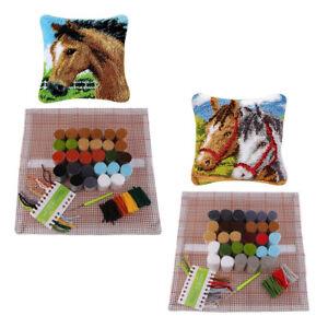 2 Satz Pferde Knüpfkissen Set für Diy Kissenbezug Sofa Kissenbezug 43x43