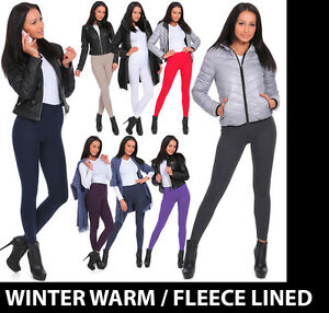 UK Womens Warm Soft Fleece Inside Full Length Stretchy Winter Thick Leggings P28