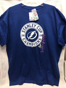 NHL Tampa Bay Lightning Logo 2020 Stanley Cup Champions T-shirt Size XXL NWT!!