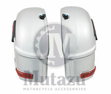SILVER Hard Saddlebags fit Harley HD Softail Sportster Dyna w/ mounting brackets