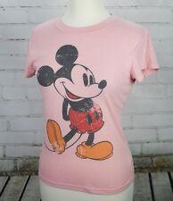 MICKEY MOUSE T-Shirt Short Sleeve Pink Womens M Disneyland Disney World Babydoll