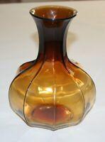 "Vintage Indiana Glass Tiara Vase 9 Sided Nonagon Amber 8"" Tall"