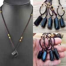 Unisex Black Tourmaline Natural Crystal Raw Stone Pendant Necklace Gem Specimen